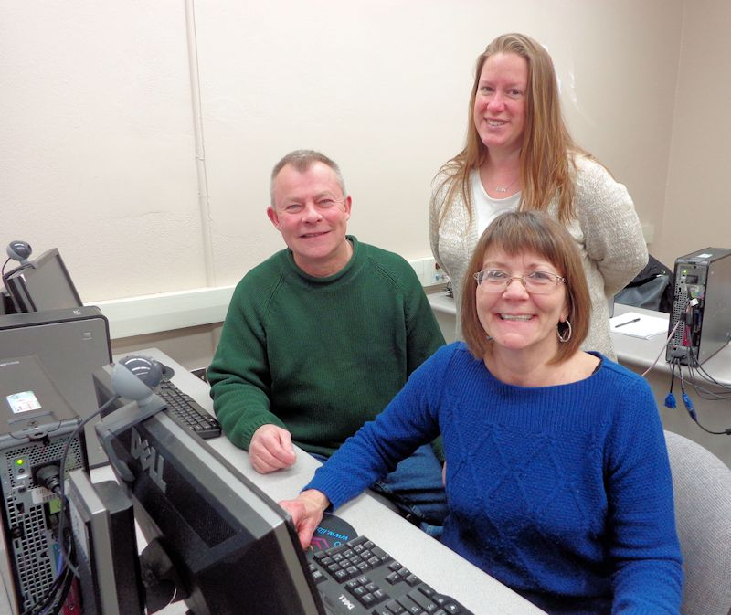 Blaine Carlson and Heather Johnson, seated, participate in a computer class with Instructor Joanna Sorensen at Prendergast Library, where the schedule of May classes is now available.