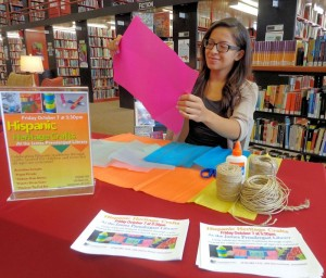 Jennifer Abarca, a social work intern from Fredonia, works on one of the crafts to be taught at 3:30 p.m. Friday, Oct. 7 at Prendergast Library, 509 Cherry St., Jamestown. Those attending will learn to make papel picado, Mexican folk art, Chilean rain sticks and a Puerto Rican guiro in recognition of National Hispanic Heritage Month. The event is geared toward children and teens, but all ages are welcome.