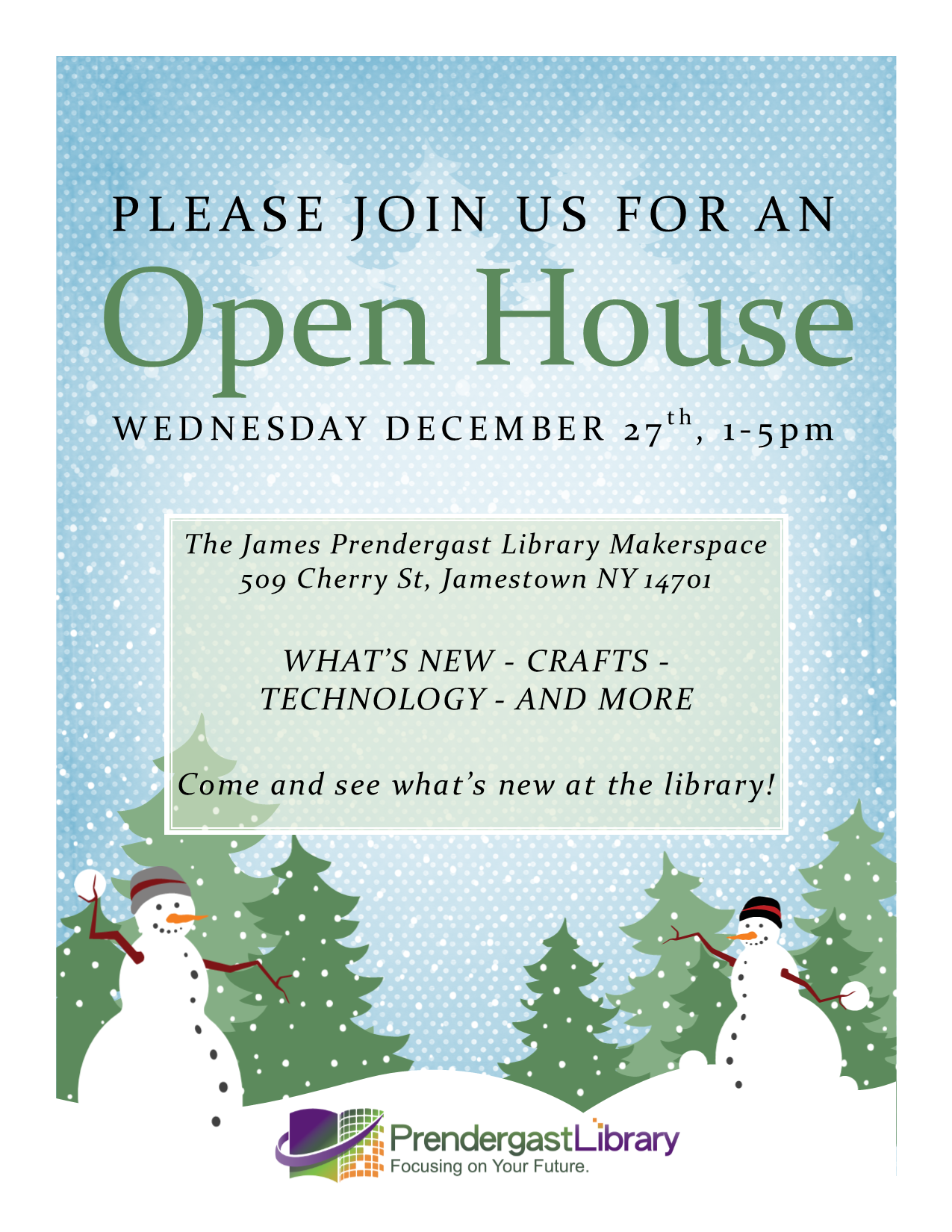 Prendergast Library will host an Open House on Wednesday, December 27th